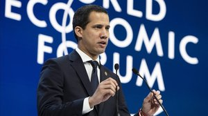 Juan Guaidó, el jueves, en el foro económico de Davos (Suiza).