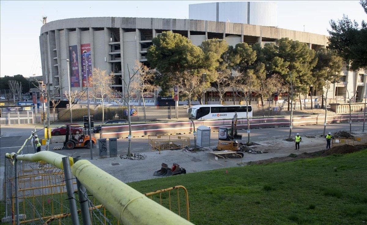 Vista de los exteriores del Camp Nou, el pasado febrero.