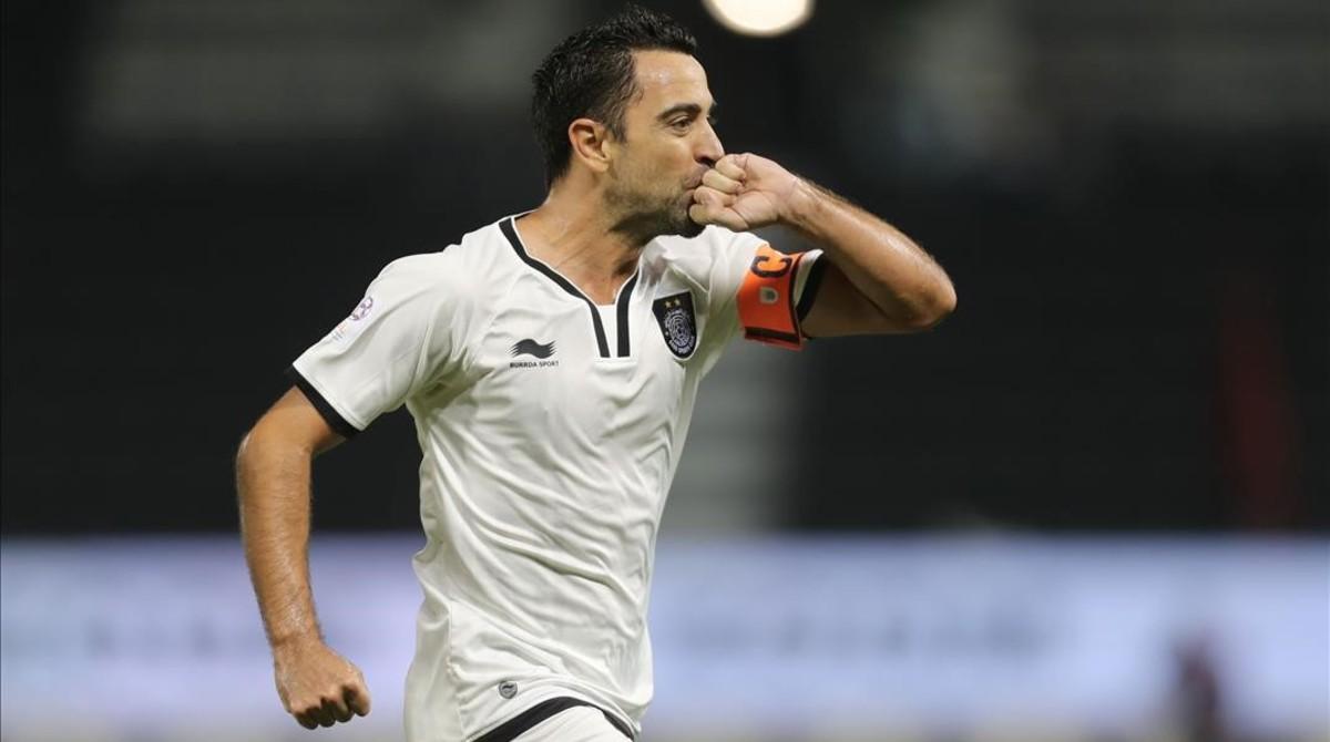 Xavi celebra un gol con el Al-Sadd en Doha.