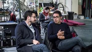 Carlo Padial y Berto Romero, durante el rodaje de Algo muy gordo en el Parc Audiovisual de Terrassa.
