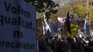 Huelga de médicos el pasado noviembre frente a la Conselleria de Salut.