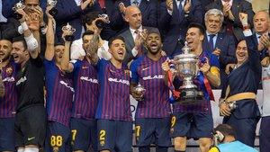 El FC Barcelona celebra la consecución de la Copa del Rey 2019 / EFE
