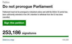 Petición popular para que se debata la suspensión del Parlamento.