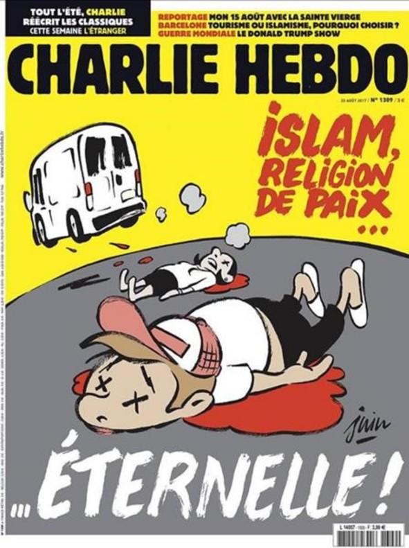 Portada del semanario satírico Charlie Hebdo, sobre los atentados de Barcelona y Cambrils.