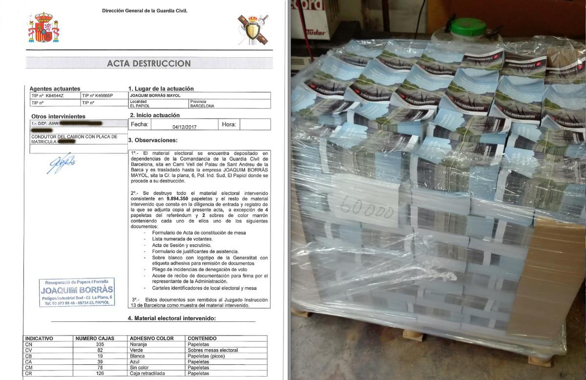 Acta de la destrucción de millones de papeletas electorales incautadas por la Guardia Civil y uno de los palés de carteles aprehendidos en los días previos al 1-O.