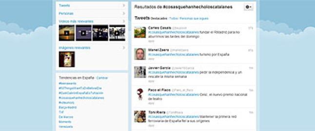 Algunos de los mensajes que se pueden leer bajo el 'hashtag' #cosasquehemoshecholoscatalanes.