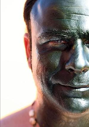 El chef, con la cara pintada con plancton.