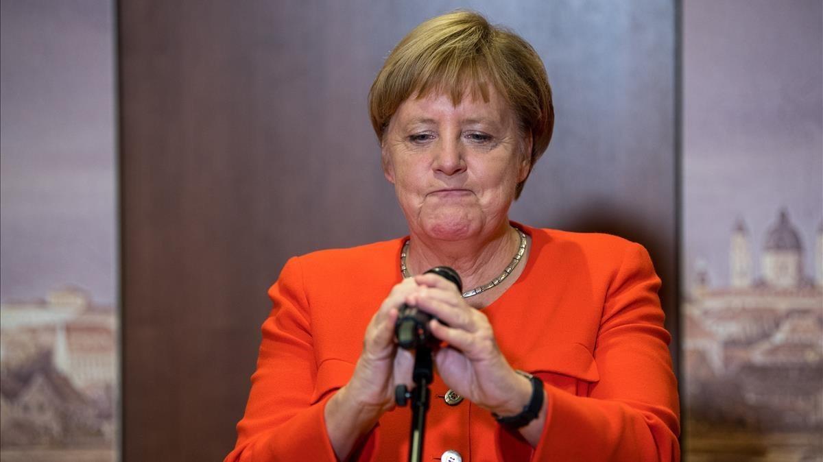 Angela Merkel en una rueda de prensa en Munich.