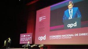 Intervención de Goirigolzarri en el congreso de la APD en Barcelona.