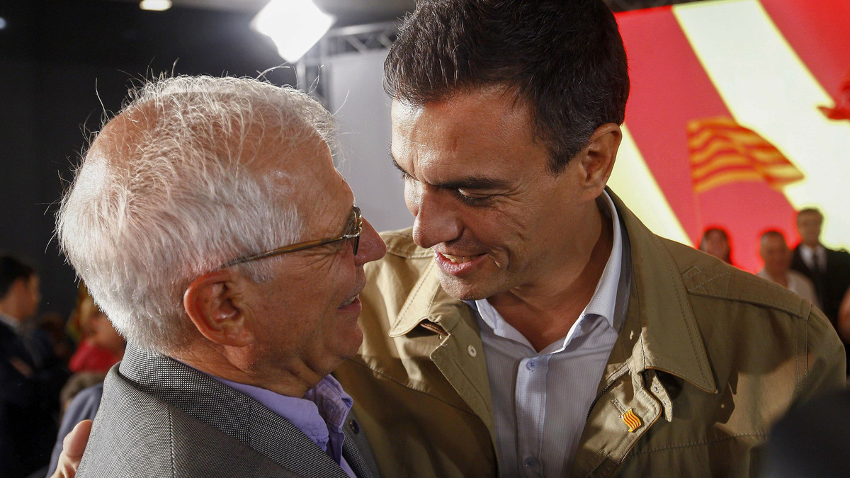 Borrell y Sánchez, en un acto de la campaña electoral de las elecciones catalanas de septiembre del 2015.
