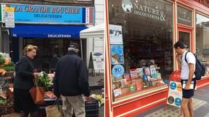 Una tienda de comida francesa e italiana (izquierda) y una librería francesa en Londres.