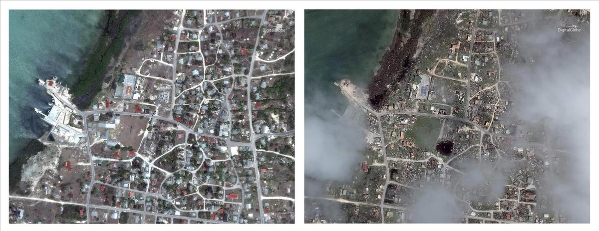 Combinación de imágenes de satélite que muestran Codrington, una localidad de Antigua y Barbuda, realizadas el 24/04/2014 y el 08/09/2017, es decir, antes y después de ser arrasadas por el huracán Irma.