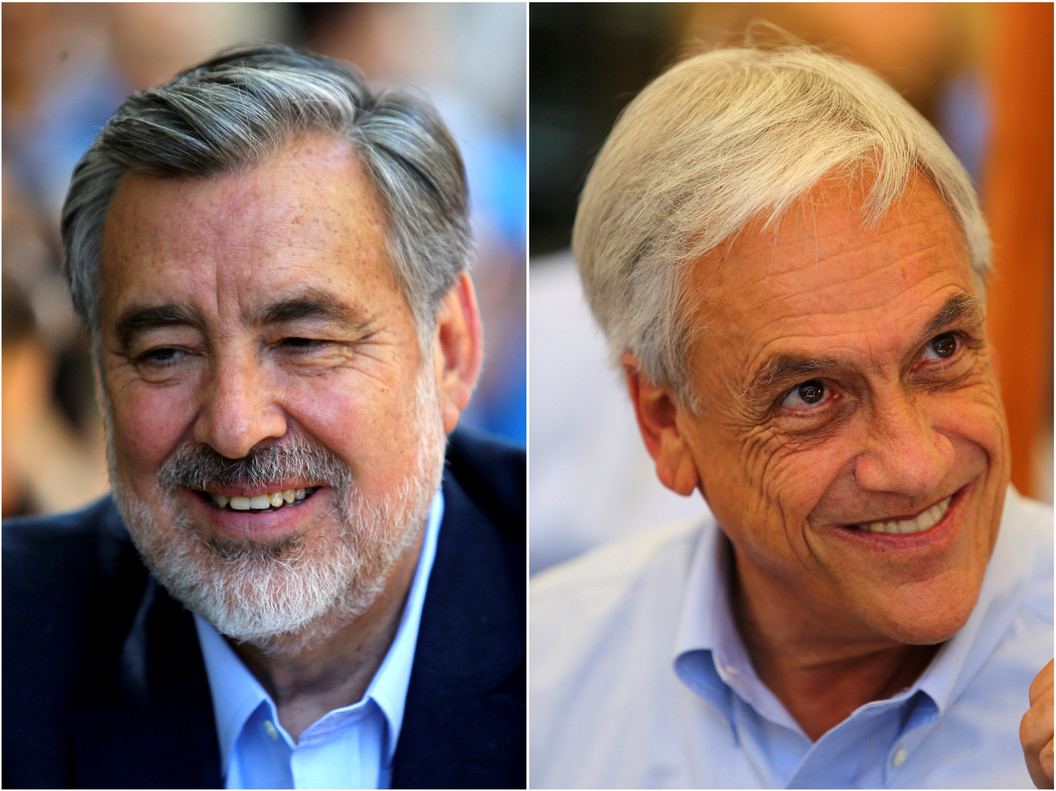 A combination photo shows Chilean presidential candidates Alejandro Guillier, on December 14, 2017, and Sebastian Pinera, on December 13, 2017, in Santiago, Chile. REUTERS/Ivan Alvarado TPX IMAGES OF THE DAY