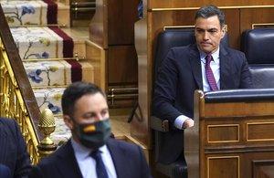 Sesión de Control al Gobierno esta mañana en el Congreso de los Diputados,en la imagenel Presidente del Gobierno yPedro Sanchez y el lider de VOX Santiago Abascal .