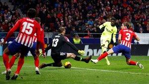 Dembélé marca el gol del empate al Atlético en el Metropolitano.