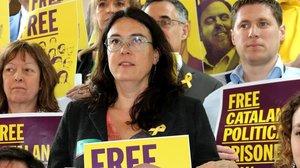 Diana Riba, mujer de Raül Romeva, en un acto en recuerdo de los políticos presos en el Parlamento Europeo.