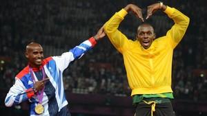 Farah, haciendo de Usain, y Bolt, con la 'M' de Mo, en los Juegos Olímpicosdel 2012. Ahora volverán a ser protagonistas en Londres.