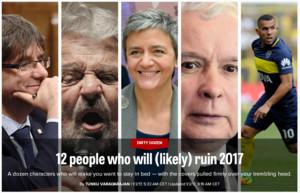 Imagen que ilustra el artículo de 'Politico' sobre las 12 personas que (probablemente) arruinarán el 2017.