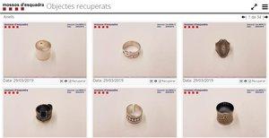 Imágenes de joyas recuperadas por los Mossos.