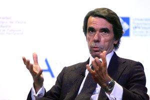 José María Aznar, este martes en la Universidad Francisco de Vitoria, en Pozuelo de Alarcón.
