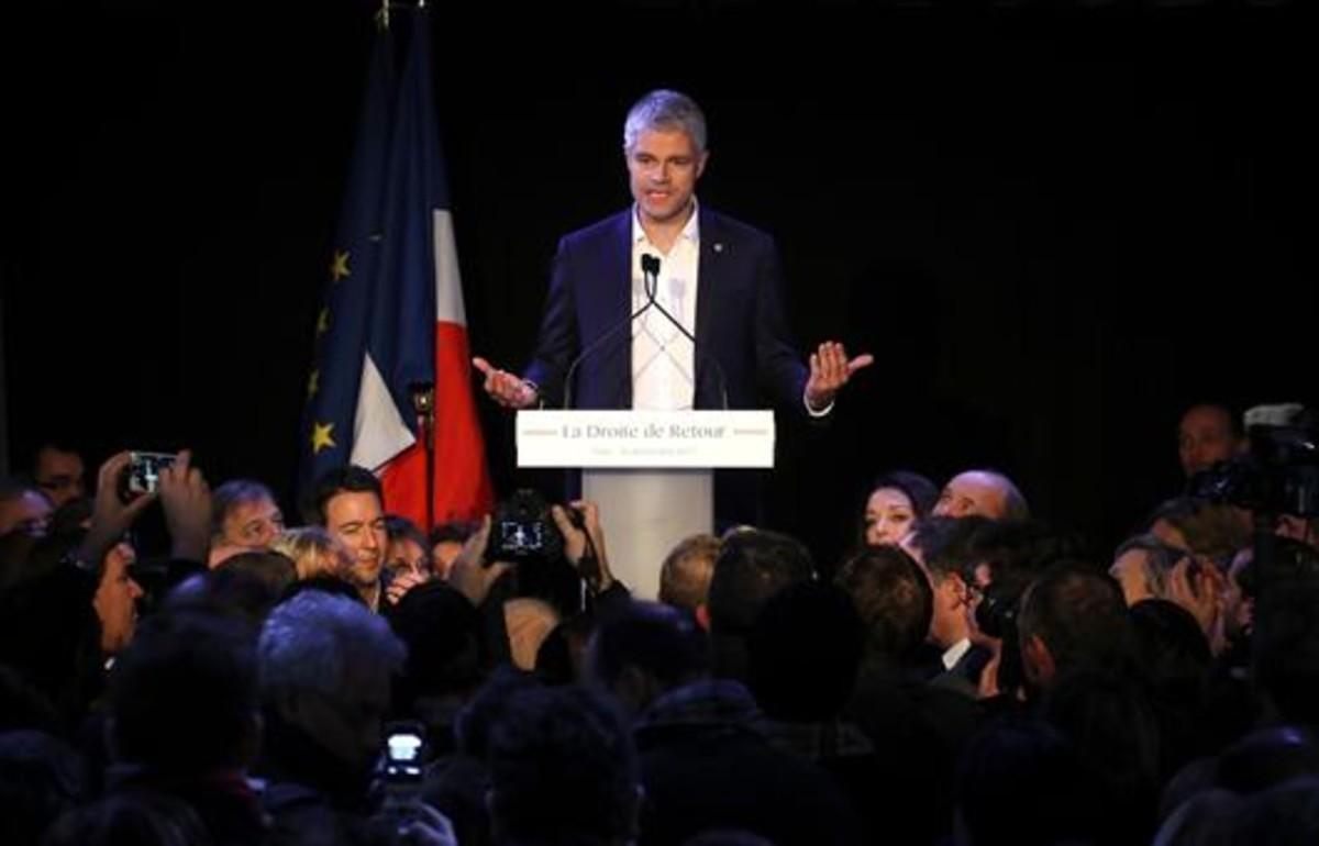 Laurent Wauquiez celebra su elección como líder de Los Republicanos, el pasado domingo en París.