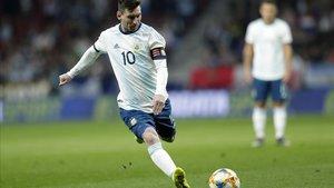 Leo Messi en el amistoso de Argentina ante Venezuela.