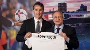 Lopetegui y Pérez, durante la presentación del técnico vasco como entrenador del Real Madrid
