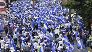 Manifestación contra Daniel Ortega, en Managua.