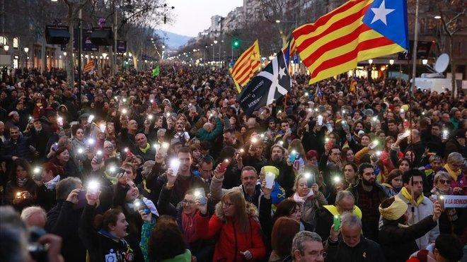 Manifestación contra el juicio del procés en Barcelona.