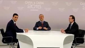 Mariano Rajoy y Pedro Sanchez en el cara a cara de la Academia de Televisión moderado por Manuel Campo Vidal.