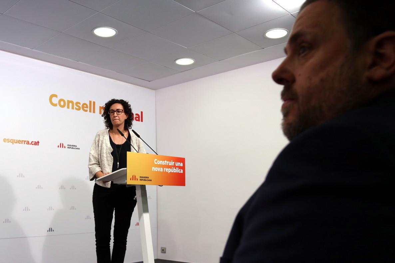 Marta Rovira y Oriol Junqueras, en el Consell Nacional de ERC.