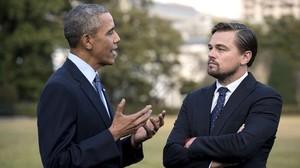 Barack Obama y Leonardo DiCaprio.