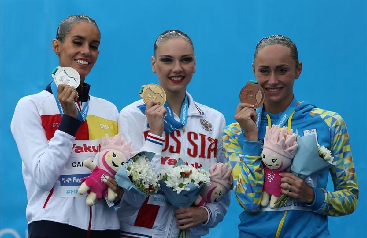 Ona Carbonell, Svetlana Kolesnichenko y Anna Voloshyna, plata, oro y bronce en Budapest.