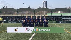 El once del Barça femenino, en la Ciudad Deportiva Luis del Sol, del Betis.