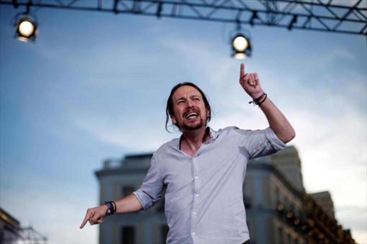 Pablo Iglesias, en el acto de Podemos en la Puerta del Sol de Madrid, el sábado pasado.