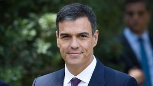 Pedro Sánchez en su reunión con el Rey este lunes.