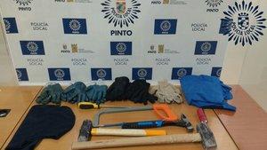 Armas intervenidas por la Policía local de Pinto en el intento de atraco a una farmacia.