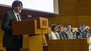El president Carles Puigdemont, en un acto la semana pasada en Barcelona.
