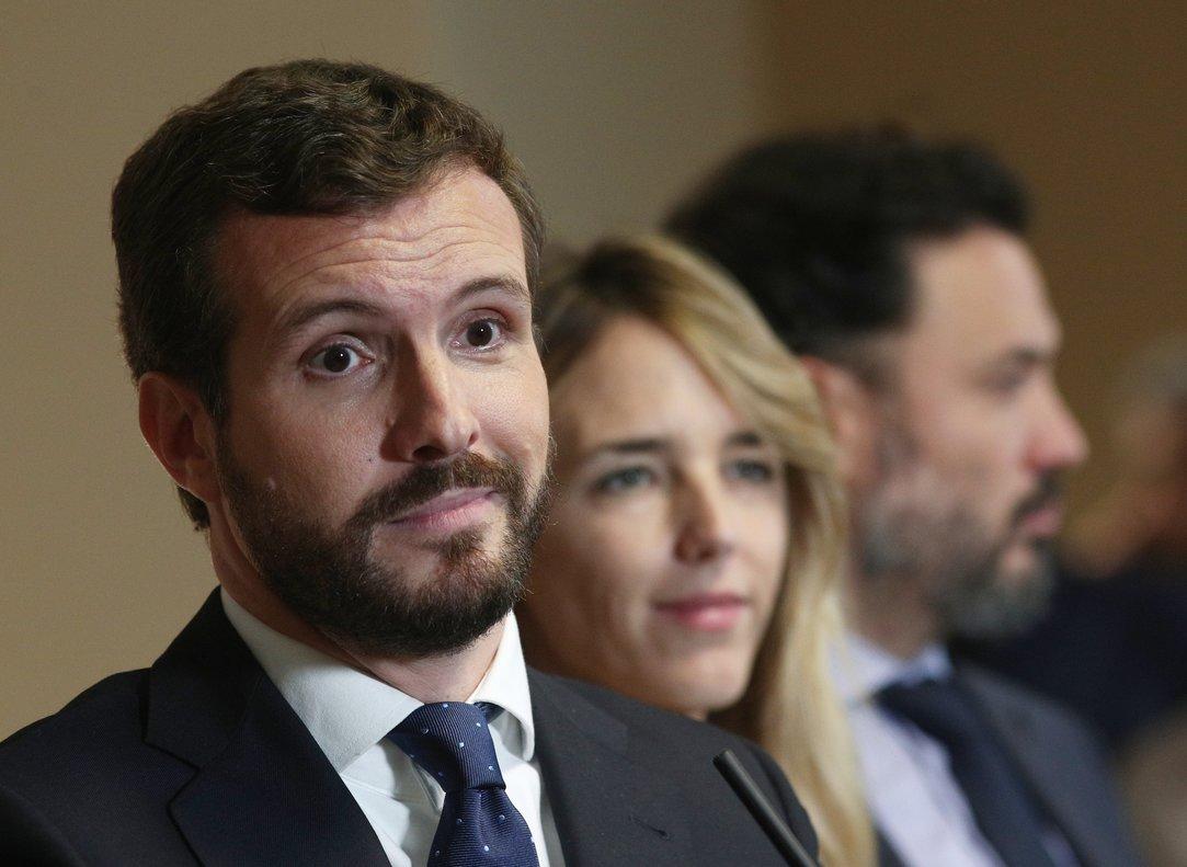 El presidente del Partido Popular, Pablo Casado, durante una rueda de prensa.