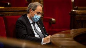 El presidente de la Generalitat, Quim Torra, durante el pleno extraordinariosobre la crisis de la Monarquíaen el Parlament, el viernes 7 de agosto.