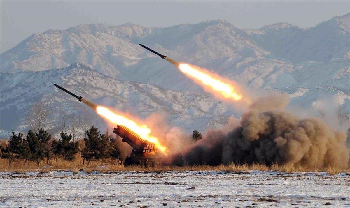 Prueba de lanzamiento de misiles en Corea del Norte.