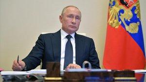 Putin, durante la reunión por videoconferencia de este martes.