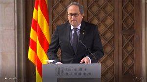 Quim Torra, durante su comparecencia en la Generalitat.