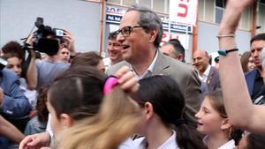 Quim Torra, durante la visita que ha realizado este domingo a Vilafranca del Penedès.