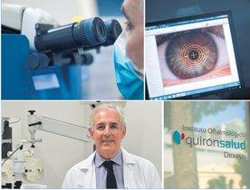 Instituto Oftalmológico Quirónsalud Dexeus. Instalaciones y equipamiento. Abajo izquierda, doctor Carlos Verges, cirujano especializado.