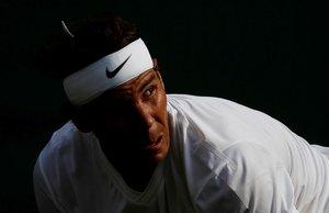 Rafa Nadal, durante un partido de cuartos de final en Wimbledon.