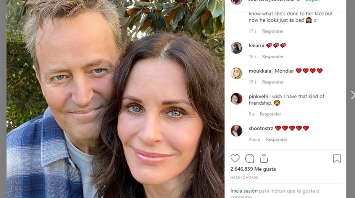 El reencuentro de Courteney Cox y Matthew Perry.