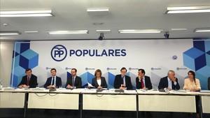 Reunión del Comité Ejecutivo Nacional del Partido Popular bajo la presidencia de Mariano Rajoy.