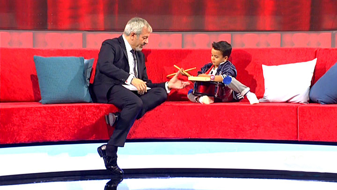 Miguel, con su tambor, en Little Big Show.