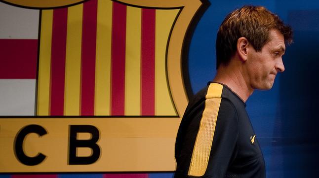 Tito Vilanova, en la sala de prensa del Camp Nou.